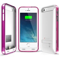 iPhone 5/5S Battery Case, [MFi Certified] Alpatronix BX120 Ultra-Slim Protective Extended iPhone 5S Charging Case / iPhone 5 Charging Case with Removable, Rechargeable Power Cover with Built-In Stand [Fits both versions of the iPhone 5 & 5S / 2400mAh Batte