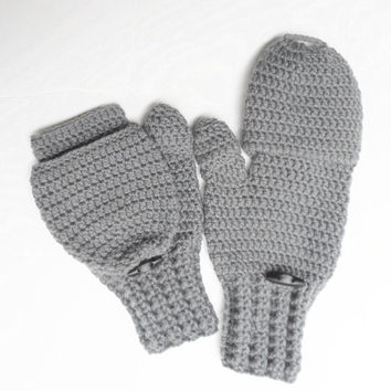 Men's Glittens in Grey, Crochet Convertible Mittens, Vegan, MADE TO ORDER.