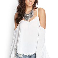 FOREVER 21 Cutout Embroidered Top