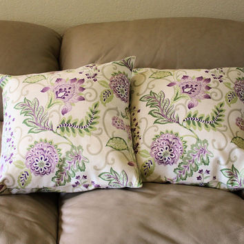 Meadow Valley Throw Pillow - Heather Chamberlain 18 inches with Flowers and Leaves in Pink, Mauve and Grass Green