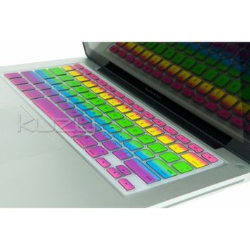 "Kuzy - Rainbow Keyboard Cover Silicone Skin for MacBook Pro 13"" 15"" 17"" (with or w/out Retina Display) iMac and MacBook Air 13"" - Rainbow"