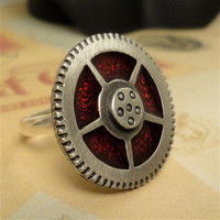 Steampunk Ring  Red Resin Steampunk Ring Steampunk by pink80sgirl