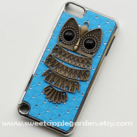 iPod Touch 5 Case, Bronze owl with blue case, crystal case for Apple Ipod Touch 5
