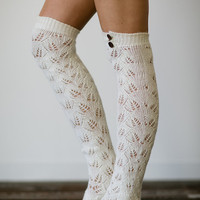 Knitted Boot Socks Women's Long Over The Knee Boot Socks with Wooden Buttons for Stocking Stuffers