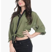 Tying The Knot High Low Sheer Blouse | $10.00 | Cheap Trendy Blouses Chic Discount Fashion for Wome