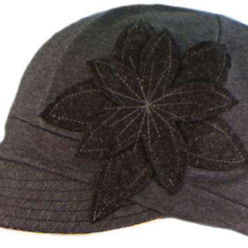 Flipside Upcycled Hats - Gray w/ Black Flower