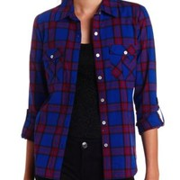 Long Sleeve Plaid Button-Up Top by Charlotte Russe - Blue Combo