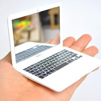 Idea Vision Mini Macbook Air Mirror/Apple Plastic Laptop Macbook Make up Mirror - White