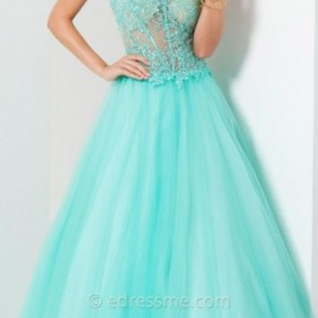 Sheer Bodice Tulle Prom Gown by Tony Bowls Le Gala