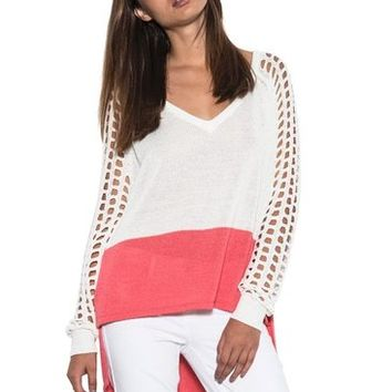Women Casual Marley Long Open Sleeve Light Sweater White Color Block