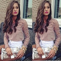 Aokdis Women Lace Crochet Embroidery Tops Long Sleeve Shirt Casual Blouse