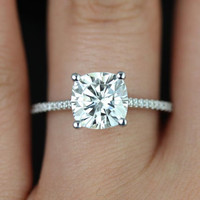 Marcelle 14kt White Gold Cushion FB Moissanite and Diamond Cathedral Engagement Ring (Other metals and stone options available)