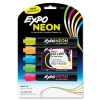 Expo Neon Bullet Tip Dry Erase Markers, 5 Colored Markers