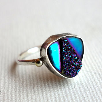 Handmade Art Deco Iridescent Drusy Ring in Sterling Silver with 14k Gold Pebbles