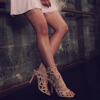 Nude Hot Stuff Caged Heels