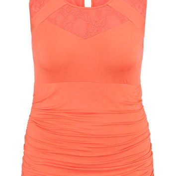 Plus Size - Lace Inset Ruched Side Tank - Living Coral