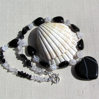 "Black Onyx Heart & Clear Quartz Gemstone Statement Necklace ""Brave Heart"""
