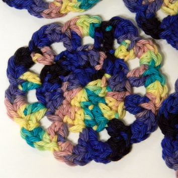 Crochet coasters, set of 4, bright festival colors, cotton yarn, flower design, baja nights ombre