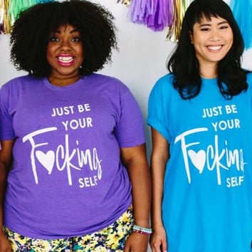 T-shirt  (Heather Orchid)  Just be Your Self Track shirt