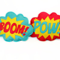 BOOM & POW   plushie / cushion - Superhero sound effect - Speech bubble