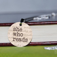 she who reads charm necklace by BookFiend on Etsy