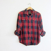 Vintage red Buffalo check Plaid Flannel / wash out Grunge Shirt / boyfriend shirt