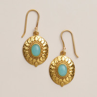 Etched Gold and Aqua Stone Drop Earrings - World Market
