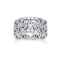 Viking Braided Wedding Band Borre Knot Norse Celtic 10mm Sterling Silver Ring(Sizes 4,5,6,7,8,9,10,11,12,13,14,15)