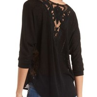 Sweater Knit & Lace Dolman Top by Charlotte Russe - Black