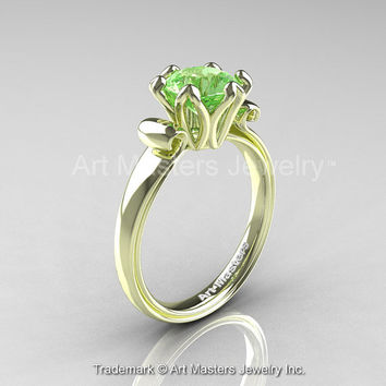 Modern Antique 14K Green Gold 1.5 Carat Green Topaz Solitaire Engagement Ring AR127-14KGRGGT
