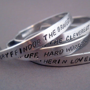 Set of Four Harry Potter  Inspired Bracelets - House Attributes - Hand Stamped Aluminum Cuff - customizable