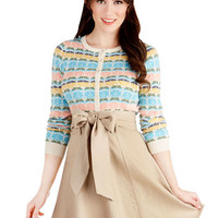 ModCloth 50s Mid-length A-line Musee Matisse Skirt in Tan