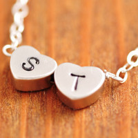 Double Heart Necklace - handstamped necklace, initial necklace, tiny heart necklace, love necklace, couple necklace