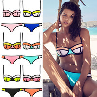 Sexy Triangle Bikini With Rims Polyester Swimsuit T15010601
