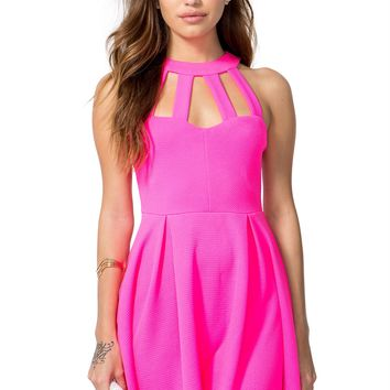 Cage Neck Flare Dress