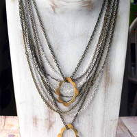 Snow White Necklace - Mirror, Mirror - Grimm's Fairy Tale Inspired - Multi-Chain, Baroque Frame - Gold, Silver - Gift Box