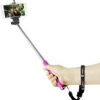 5IVE Selfie Stick Extendable Handheld Monopod Pole with Adjustable Phone Holder (Bluetooth Shutter + Black Stick)
