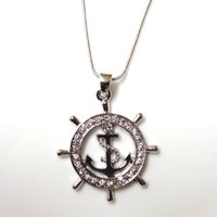 Nautical Ship Wheel and Anchor Charm Pendant and Necklace Rhodium Plated Gift Boxed Fashion Jewelry