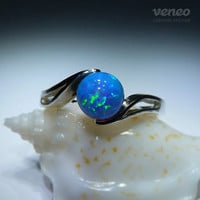 Persephone. Silver (or Gold) Opal Ring, all sizes