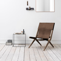 Saxe Leather Lounge Chair, Oak/Brown