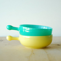 Glassbake Individual French Casserole Dish Pair in Yellow and Mint Green