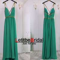 2015 New Fashion Cheap Sexy  Golden Spaghetti Straps Deep V neck Green Chiffon Prom Dresses Gown Long/Evening Dress Gown/Party Dress/Custom