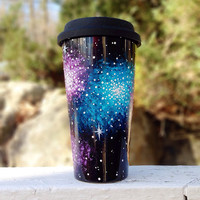 Hand painted galaxy ceramic travel coffee mug with silicone lid