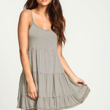 TAUPE STRIPED TIERED JERSEY DRESS