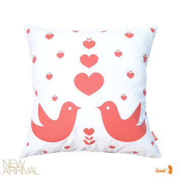 Coral Pink Print on White Love Birds Pillow 13 Inches Square