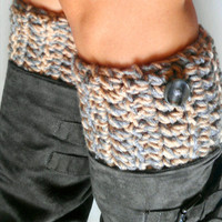 Cozy Beige Gray Crochet Boot Cuffs with cute neutral buttons- Leg warmers-Knee socks- Boot toppers- Boot accessories
