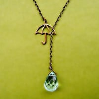 umbrella with glass raindrop necklace by alapopjewelry