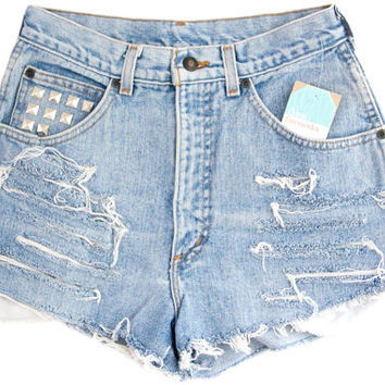 Studded Shorts Vintage Distressed High Waisted