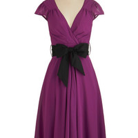 ModCloth Cap Sleeves A-line Have the Dance Floor Dress in Mulberry