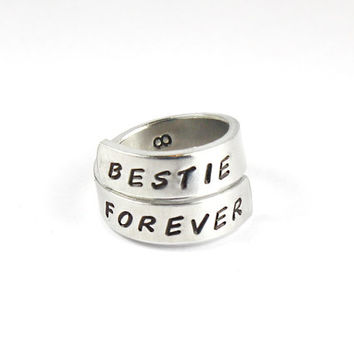 BESTIE FOREVER Friendship Ring,  Best Friend BFF Gift Ring, Besties Jewelry, Hand Stamped  Sisters Rings